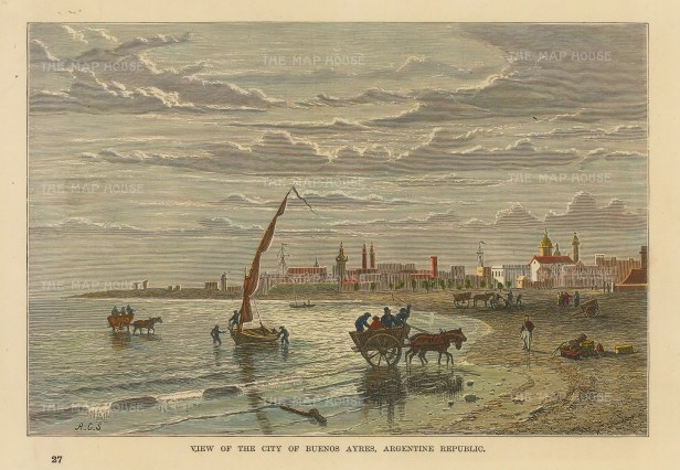 "Reclus: Buenos Ayres, Argentina. 1894. A hand coloured original antique wood engraving. 7"" x 5"". [SAMp1417]"