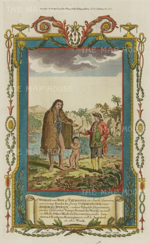 Patagonia: Native woman and boy receiving beads from Commodore Lord Byron.