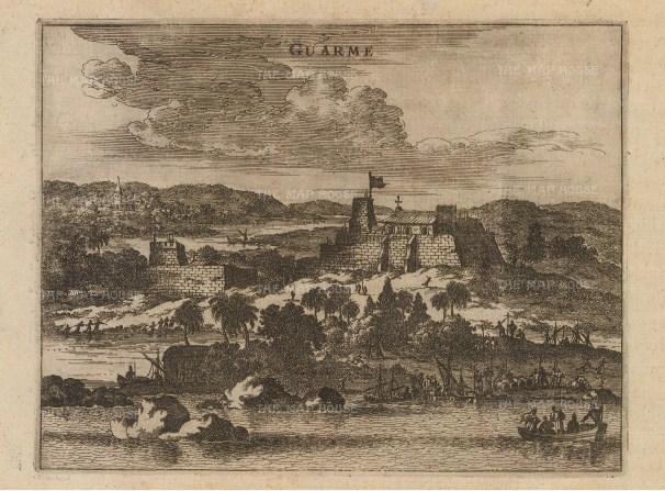 """Ogilby: Guarme (Huarmey), Peru. 1671 An original antique copper engraving. 7"""" x 6"""". [SAMp961]"""