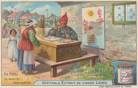 """Liebig: Korea. 1904. An original antique chromolithograph. 4"""" x 3"""". [SEASp1463]"""