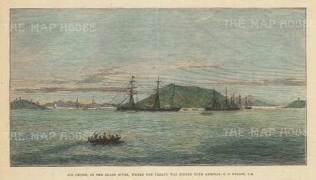Korea: Jin Chuen on the Salee River: Panoramic view of island where the Brtitish-Korean trade treaty was signed.