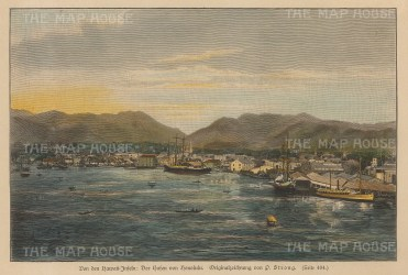"Anon: Honolulu, Hawaii. c1890. A hand coloured original antique wood engraving. 9"" x 7"". [USAp3968]"