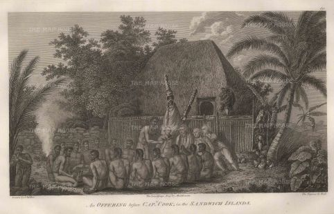 An offering before Captain Cook as the incarnation of the god Lono. After John Webber, artist on the Third Voyage.
