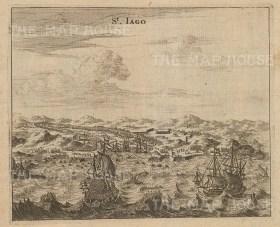 "Ogilby: Santiago, Cuba. 1671. An original antique copper engraving. 7"" x 6"". [WINDp872]"
