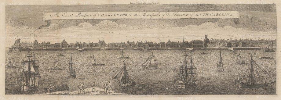 "London Magazine: Charleston. 1762. An original antique copper engraving. 21"" x 7"". [USAp4847]"