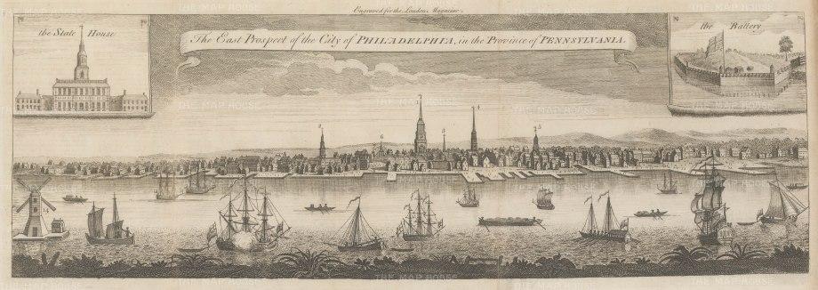"London Magazine: Philadelphia. 1761. An original antique copper engraving. 21"" x 7"". [USAp4848]"