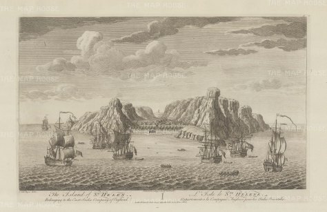 St. Helena: Panoramic view of the port controlled by the English East India Company from 1658 to 1815.