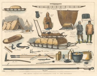 """Illustrated London News: Apparatus used by Arctic Explorers. 1876. A hand coloured original antique wood engraving. 12"""" x 9"""". [ARCp477]"""