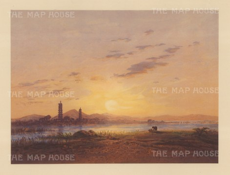 Whampoa Island: View of the Pagoda from across the Pearl River. Drawn from life during Hildebrandt's 'round-the-world' voyage.