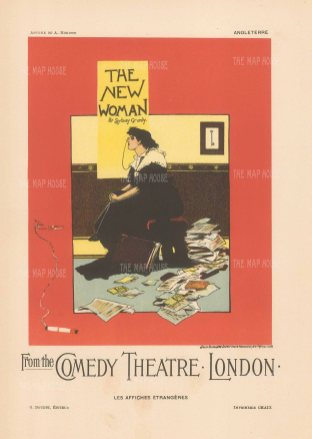 Comedy Theatre London: Albert Morrow's advertisement for The New Woman by Sydney Grundy.