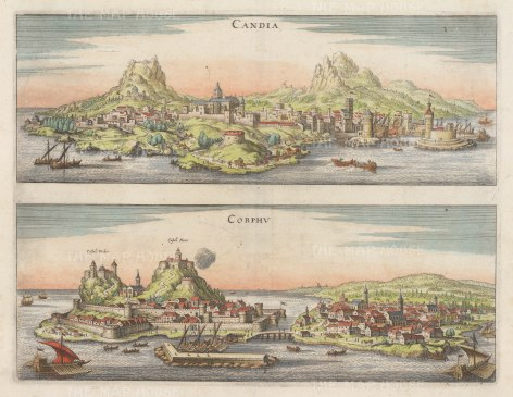 "Merian: Crete (Candia) & Corfu. c1700. A hand coloured original antique copper engraving. 15"" x 11"". [GRCp705]"