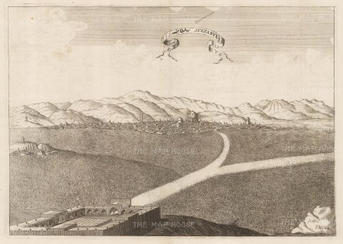 Iran: Sultanie (Soltaniyeh), Panoramic view of the approach to the capital of the southwestern Mongol empire and the tomb of Olijetu (Mohammed Khodabandeh).