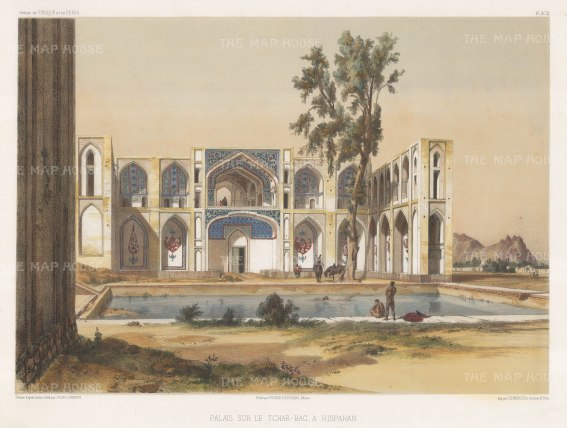 Iran: Isfahan, View of Hasht Behesht palace on the Chahar bagh avenue. After Jules Laurens.