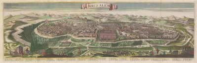 Jerusalem: Bird's eye view from Gethsemen of the Old City: Based on the 1660 view by Wenceslaus Hollar, after the drawings of the Jesuit Juan Battista Villalpando.