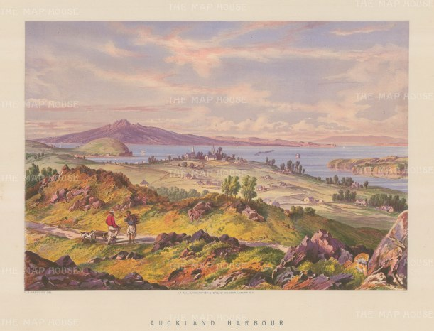 """Barraud: Auckland Harbour. 1877. An original antique chromolithograph. 17"""" x 12"""". [NWZp160]"""