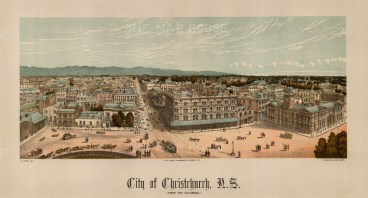 Christchurch from the Cathedral. Edward Wakefield's New Zealand Land Company established numerous settlements that became principal towns.