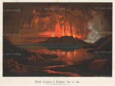Mount Tarawera. Spectacular depiction of the catastrophic eruption in 1886. After Charles Bloomfield.