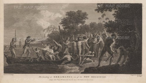 New Hebrides (Vanuatu). Erramanca (Eromango). The landing and violent retreat of Captain Cook. After William Hodge, artist on the Second Voyage.