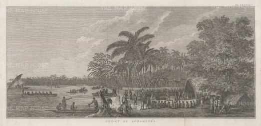 Annamooka Bay (Nomuka). View of Captain Cook's house and the market established there. After John Webber, artist on the Second Voyage. Dutch Edition
