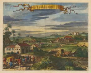 Sirinhaem: Panoramic view of the Dutch fort with key in Latin.