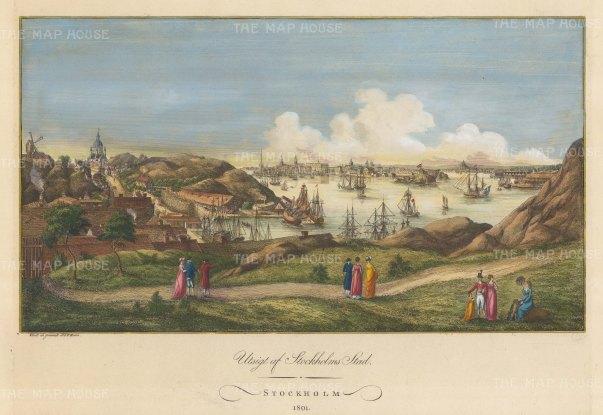 """Martin: Stockholm, Sweden. 1801. A hand coloured original antique copper engraving. 18"""" x 12"""". [SCANp111]"""