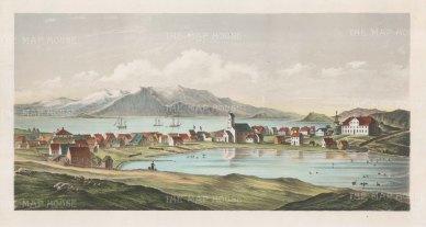 "Anonymous: Reykjavik, Iceland. c1850. An original colour antique lithograph. 18"" x 10"". [SCANp232]"