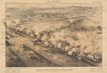 Battle of Tel El Kebir: Bird's Eye with key of General Wolseley's victory over the Egyptian forces.