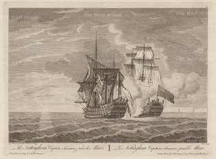 "Sayer: HMS Nottingham capturing the Mars. 1774. An original antique copper engraving. 17"" x 12"". [NAVp81]"