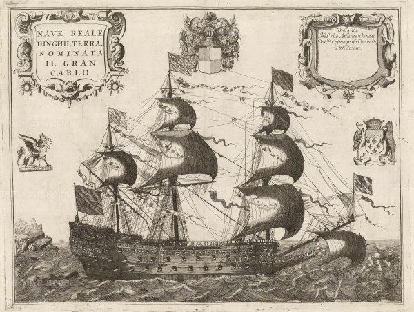 "Coronelli: HMS Royal Charles. 1692. An original antique copper engraving. 25"" x 17"". [NAVp82]"