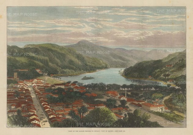 "Illustrated London News: Kandy. 1882. A hand coloured original antique wood engraving. 14"" x 10"". [INDp1377]"
