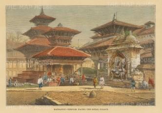 Nepal: Kathmandu. Kal Bhairav shrine in Hanuman Dhoka (Durbar square).