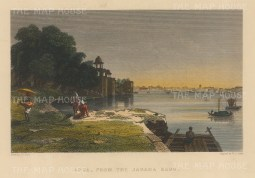 "Allom: Agra. c1840. A hand coloured original antique steel engraving. 8"" x 6"". [INDp1400]"