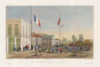 Canton: European Factories. With a market scene and a French flag. After Barthélemy Lauvergne, one of the artists on the voyage of La Bonite, 1836-1837.