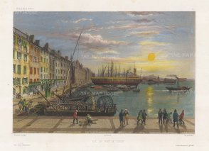 View of the port. After Barthelemy Lauvergne, artist on the voyage of La Bonite 1836-7.