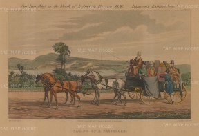 PAIR: Coach Traveling in the South of Ireland in 1856. Dropping a Passenger and Taking Passenger.