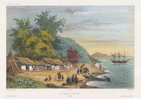 Vietnam: Tourane (Da Nang): View of the coast and the corvette La Bonite in the harbour. After Barthélemy Lauvergne, artist on the voyage of La Bonite 1836-7.