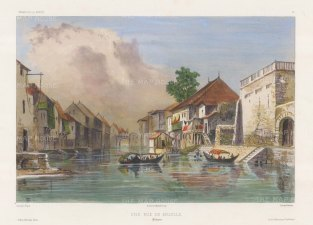 Manila. View of a canal. After Théodore-Auguste Fisquet, one of the artists on the voyage of La Bonite 1836-7.