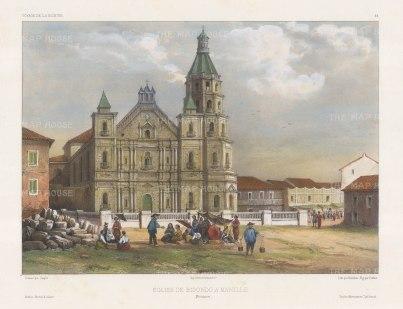 Manila. Binondo Church (Basílica Menor de San Lorenzo Ruiz). After Théodore-Auguste Fisquet, one of the artists on the voyage of La Bonite 1836-7.