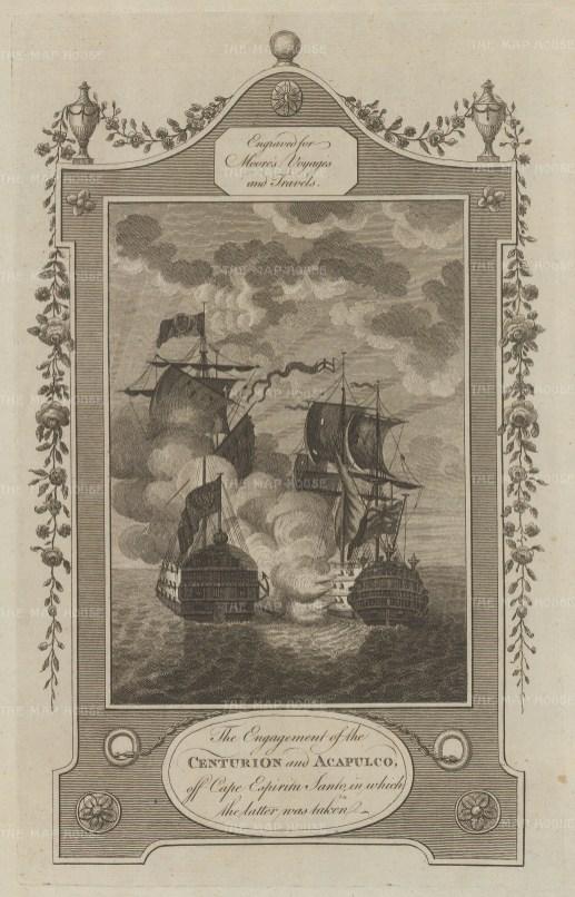 Samal Island. Cape Espiritu Santo. Commodore Anson and the HMS Centurion capturing the Nuestra Senora de Covadonga, a Manila-Acapulco galleon.