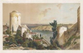 "de Hell: Roumely-Hissar (Castle of Europe), Bosphorus. c1854. A hand coloured original antique lithograph. 15"" x 10"". [TKYp1207]"