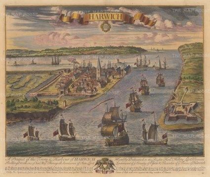 "Kip: Harwich, Essex. 1715. A hand coloured original antique copper engraving. 22"" x 18"". [ENGp327]"