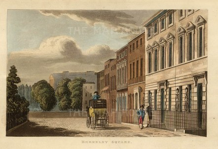 Berkley Square:View of the square designed by William Kent at the end of the 18th century.