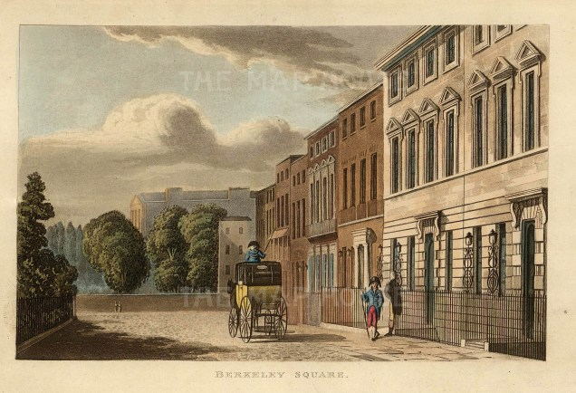 Berkley Square. View of the square designed by William Kent at the end of the 18th century.