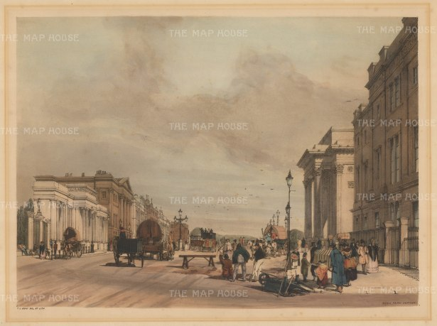 Hyde Park Corner. To left, entrance to Hyde Park, Apsley House and Park Lane. To right, St George's Hospital, Burton's Constitution Arch and Wyatt's statue of the Duke of Wellington.
