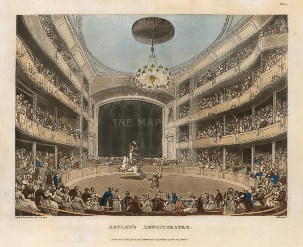 View of an equestrian performance at Astley's Amphitheatre:. Former cavalryman Philip Astley is considered the father of the modern circus with his invention of the circus ring at his riding school in 1768.