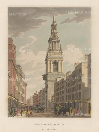 "Malton: Bow Church. 1800. A hand coloured original antique aquatint. 11"" x 14"". [LDNp2989]"