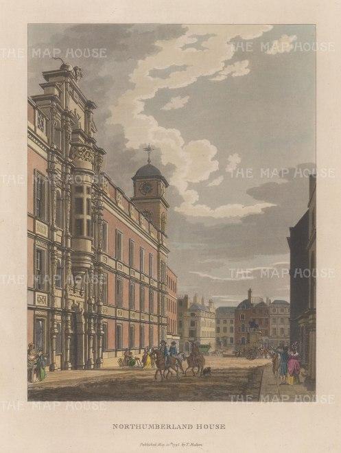 "Malton: Northumberland House. 1800. A hand coloured original antique aquatint. 11"" x 14"". [LDNp2992]"