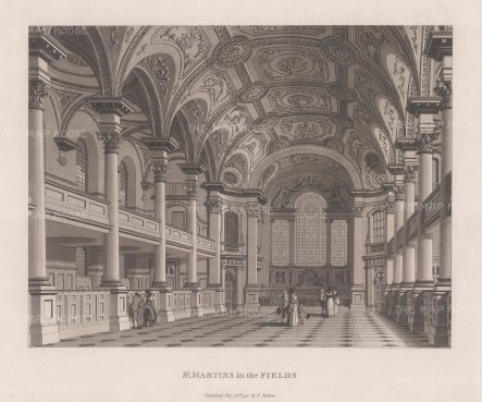 "Malton: St. Martin-in-the-Fields. 1800. An original antique aquatint. 14"" x 11"". [LDNp3006]"