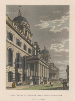 "Malton: Greenwich Hospital. 1799. A hand coloured original antique aquatint. 11"" x 14"". [LDNp6499]"