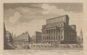 Mansion House. Elevation of the exterior and west side. With the Lord Mayor's entourage in the foreground.